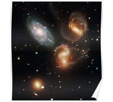Galactic wreckage in Stephan's Quintet - Hubble Space Telescope Poster
