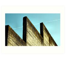 Mossy Wall and Contrail Art Print