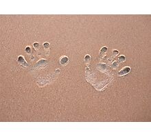 Handprint in the sand on a beach  Photographic Print