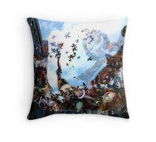 Playing with Magritte in the spirt of Breughel  Throw Pillow