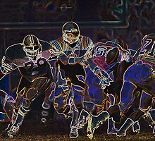 Digital Art Image of Football Action by Diane Johnson