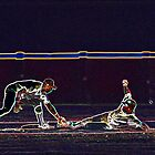 Digital Art Image of Baseball Player Tagging Base Runner at Second Base by Diane Johnson
