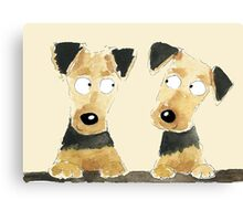 Airedale Pups Canvas Print