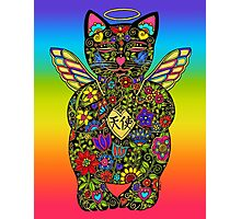 Angel Lucky Black Cat Photographic Print
