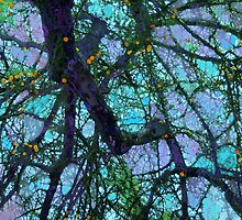 Complex, Purple-Hued Branches Cascading Downward #1 by Ivana Redwine