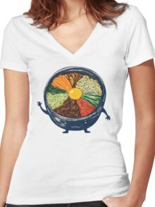 "Korean Mixed Rice - ""Bibimbab 비빔밥"" Women's Fitted V-Neck T-Shirt"
