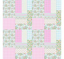 Pretty Pink Dog Roses Faux Patchwork Photographic Print