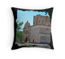 Through a window looking Throw Pillow