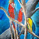 parrot oil tropical art painting print by derekmccrea