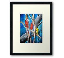 parrot oil tropical art painting print Framed Print