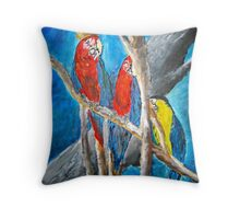 parrot oil tropical art painting print Throw Pillow