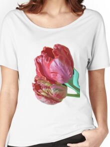 Two Red Tulips Vector Isolated Women's Relaxed Fit T-Shirt