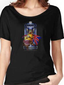 Doctor Cartoons Parody with england flag Women's Relaxed Fit T-Shirt