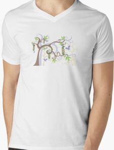 Magic Trees and Baby Boy Girl Twins Peas in a Pod Mens V-Neck T-Shirt