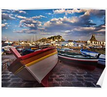 Boats  at the port of Acitrezza, Sicily Poster