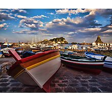 Boats  at the port of Acitrezza, Sicily Photographic Print