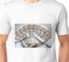 Cost of Living concept - fork knife and plat with Dollar banknotes Unisex T-Shirt