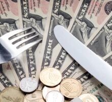 Cost of Living concept - fork knife and plat with Dollar banknotes Sticker