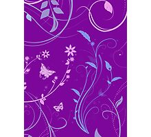 Floral Swirls and Butterflies Photographic Print