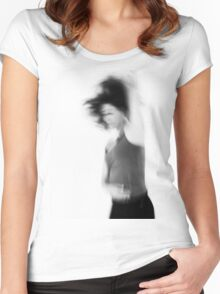 Blurry hyper active young woman  Women's Fitted Scoop T-Shirt