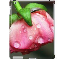 A pink bud in rain. iPad Case/Skin