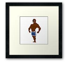 muscular man posing. Framed Print