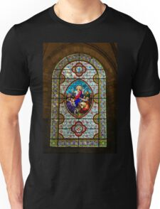 Stain glass window in a Church in Autoire Unisex T-Shirt