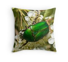 Green Beetle 1 Throw Pillow