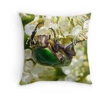 Green Beetle 2 Throw Pillow