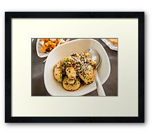 Mushrooms garnished with sesame seeds  Framed Print