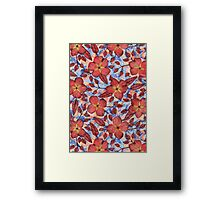 Coral Summer - a hand drawn floral pattern Framed Print