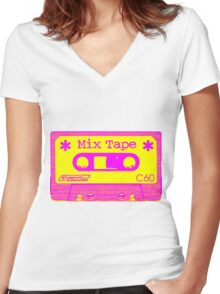 Psychedelic Mix Tape - Magenta and Yellow Women's Fitted V-Neck T-Shirt