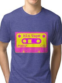 Psychedelic Mix Tape - Magenta and Yellow Tri-blend T-Shirt