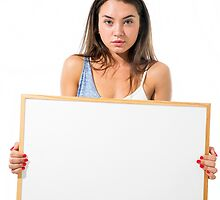 Young model hold a blank whiteboard ready for your text  by PhotoStock-Isra