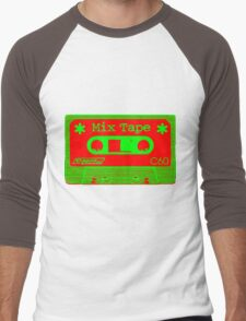 Psychedelic Mix Tape - Red and Green Men's Baseball ¾ T-Shirt
