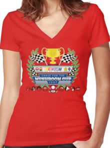 Chase for the Mushroom Cup Women's Fitted V-Neck T-Shirt