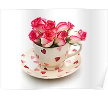 Roses in a cup Poster