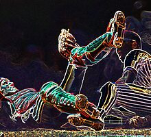 Digital Art Image of Baseball Players Colliding at Home Plate by Diane Johnson