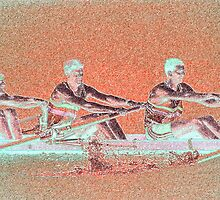 Digital Art Photo of Men's Rowing Team by Diane Johnson