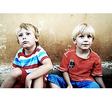 Two Blonde-Haired and Blue-Eyed Boys Photographic Print