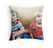Two Blonde-Haired and Blue-Eyed Boys Throw Pillow