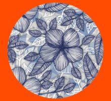 Indigo Summer - a hand drawn floral pattern Kids Tee