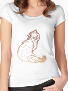 Persian Cat Sketch 2 Women's Fitted Scoop T-Shirt