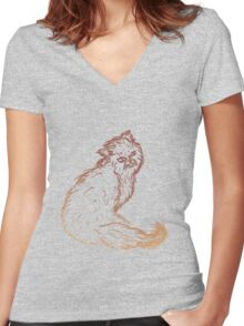Persian Cat Sketch 2 Women's Fitted V-Neck T-Shirt