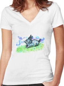 Rabbit Sketch Women's Fitted V-Neck T-Shirt