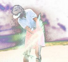 Digital Art Image of Golfer Making Sand Shot by Diane Johnson