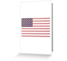 American flag skulls and bullets Greeting Card