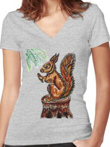 Squirrel Sketch 2 Women's Fitted V-Neck T-Shirt