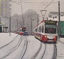 Croydon Trams in Winter by trampainter