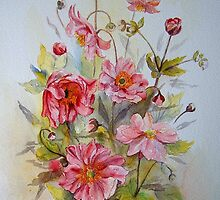 Iphone case Japanese anemones by Beatrice Cloake Pasquier